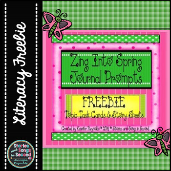 Zing Into Spring Writing Task Cards and Printables--Opinion