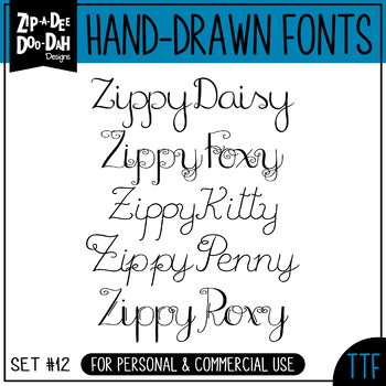 Zip-A-Dee-Doo-Dah Designs Font Collection 12 — Includes Commercial License!