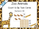 Zoo Animals Count & Clip 1 - 30 Task Cards