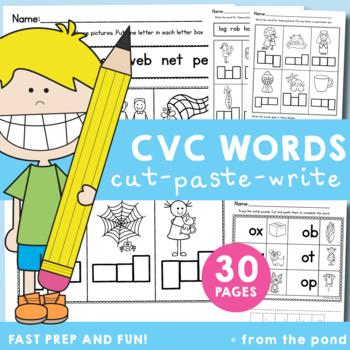 cvc Words - Cut, Paste & Write Worksheets