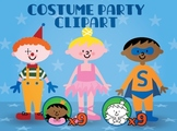 kids costume clipart for parties, mardi gras or halloween