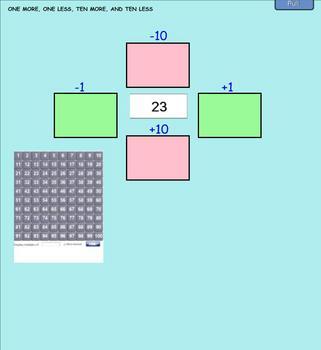 one more, one less, ten more, ten less inteactive smartboard file