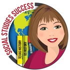 Social Studies Success: illustration of a woman in front of a globe and history text books